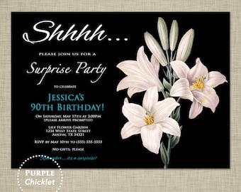 90th Birthday Invitation Adult Surprise Party Lily Flowers Modern Elegant Feminine Invite Printable JPG File 69a