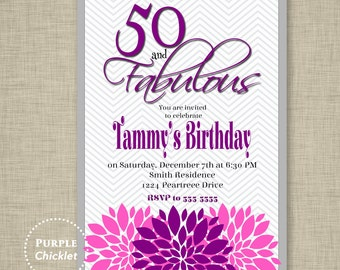 50th Birthday Invitation Fifty And Fabulous Purple Gray Invite Womans Floral Adult Party Printable JPG File 72