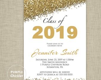 Class Of 2019 Invitation Graduation Party Invitation Silver Etsy