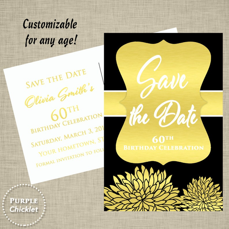 Birthday Save the Date Postcard 40th 50th 60th Birthday Gold Quincea\u00f1era Birthday Printable DIY Postcard 4x6 jpeg files 2