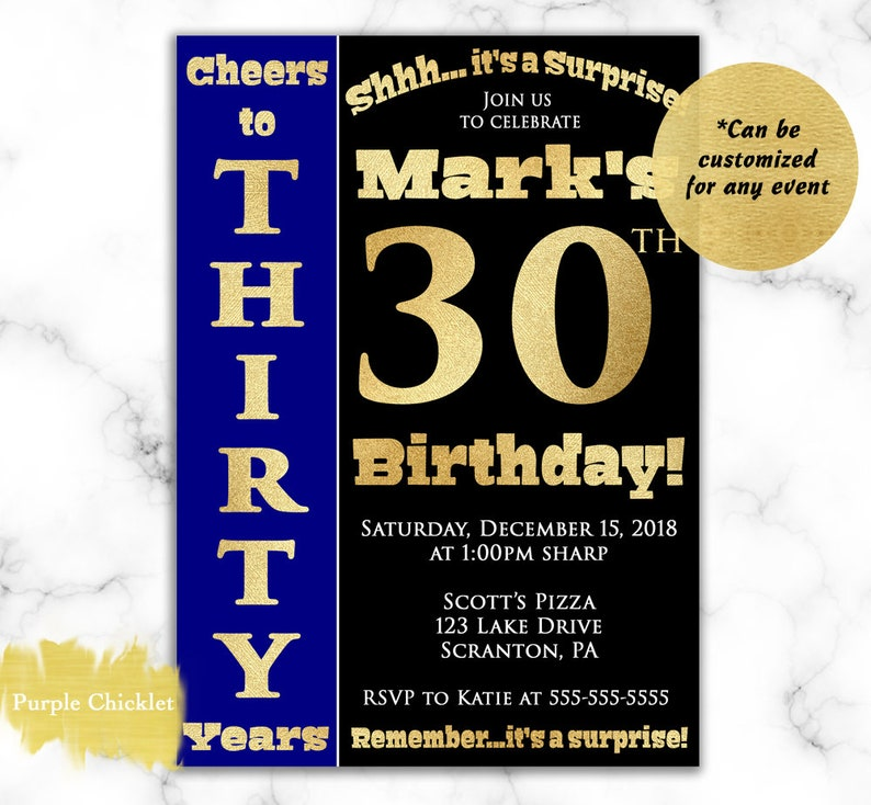 Cheers To 30 Years Invitation For Him Surprise 30th Birthday