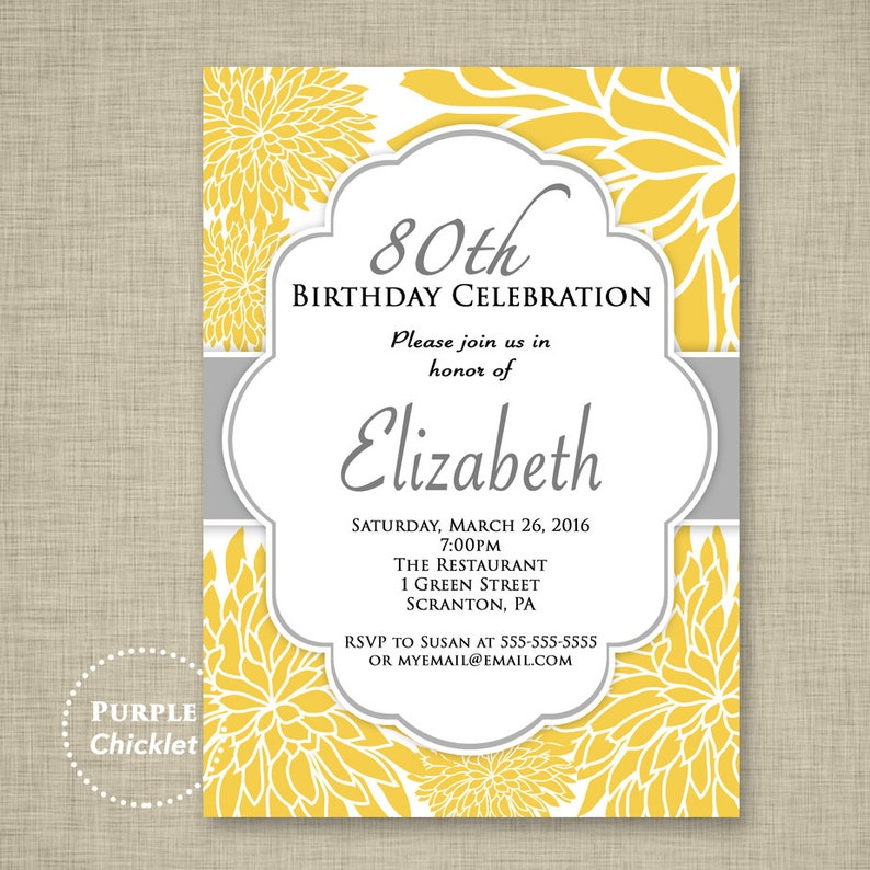 Yellow Flower Invitation 80th Birthday Surprise