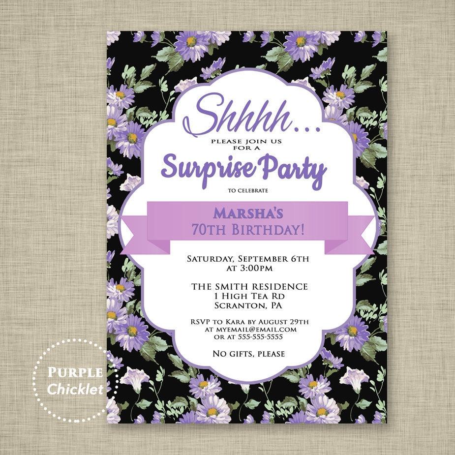Surprise Invitation Purple 70th Birthday Party Invitation | Etsy