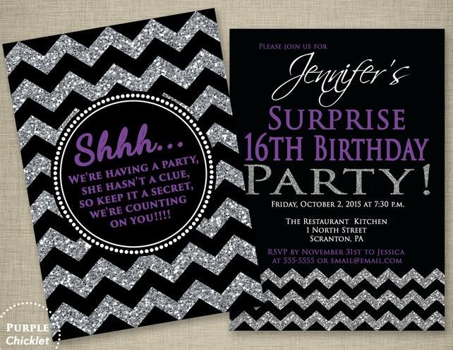 Purple Surprise 16th Birthday Invitation Black Party Invite
