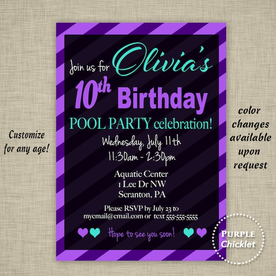 Summer Pool Party Invite 10th Birthday Invitation Purple Black
