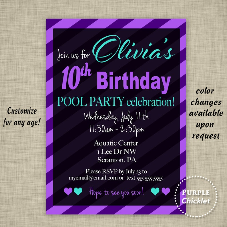 Summer Pool Party Invite 10th Birthday Invitation Purple Black