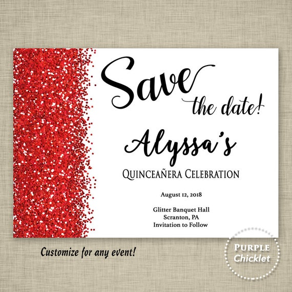 sweet sixteen red save the date quinceañera mis quince invite etsy