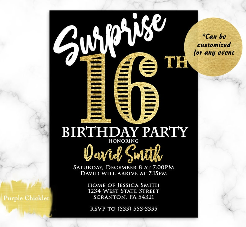 Surprise 16th Birthday Invitation For Him Gold And Black 18th
