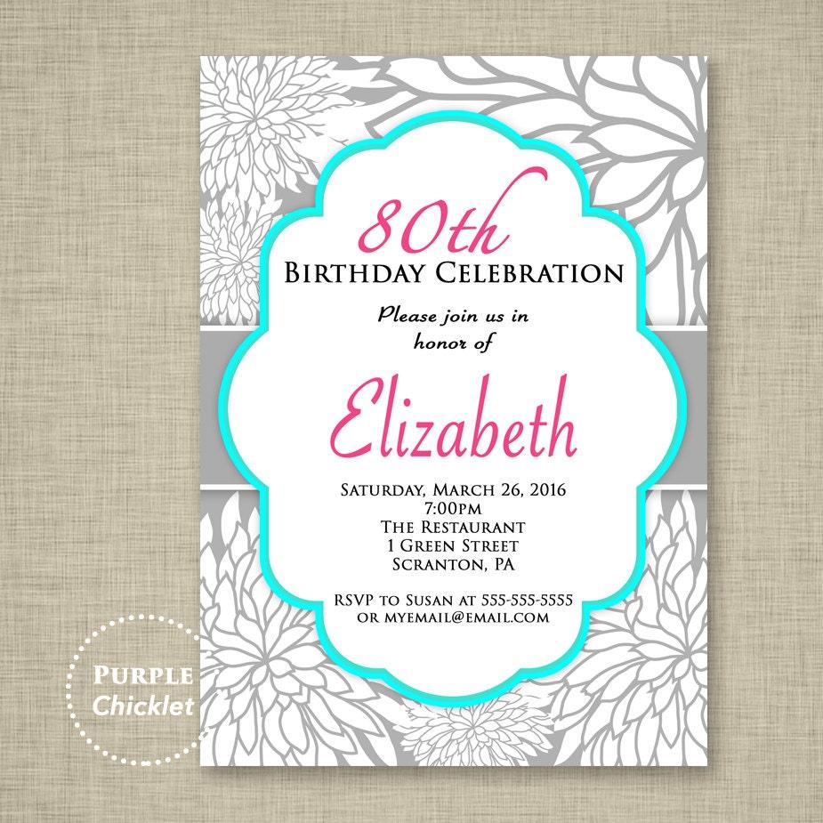 80th Birthday Invitation Surprise Invite Celebration Feminine   Etsy