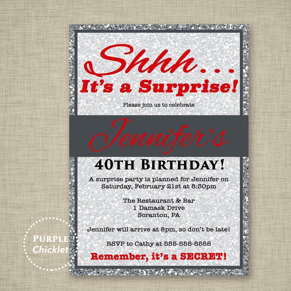 Red 30th 40th 50th Birthday Invitation Silver Glitter Invite | Etsy