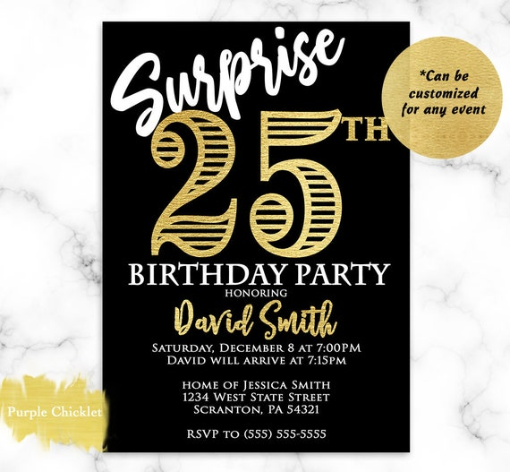 Surprise 25th Birthday Invitation For Him Gold And Black 40th