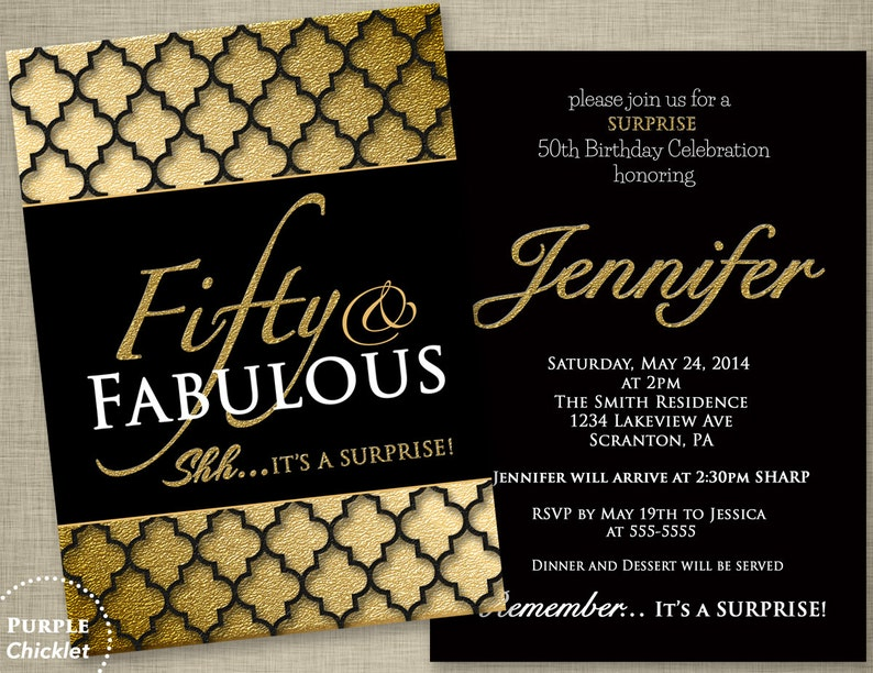 Fifty And Fabulous Surprise 50th Birthday Party Invitation