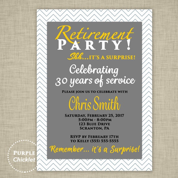 surprise retirement party invitation farewell goodbye gray etsy