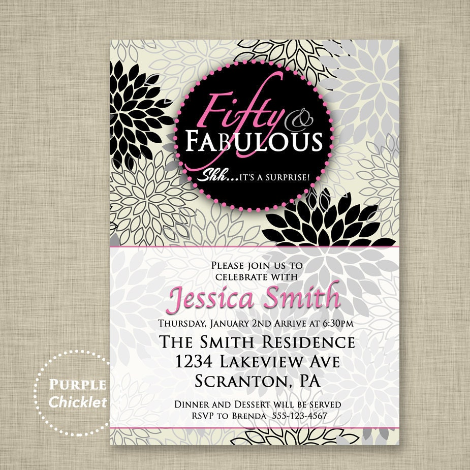 50th And Fab: Fifty And Fabulous Invite Pink 50th Birthday Invitation