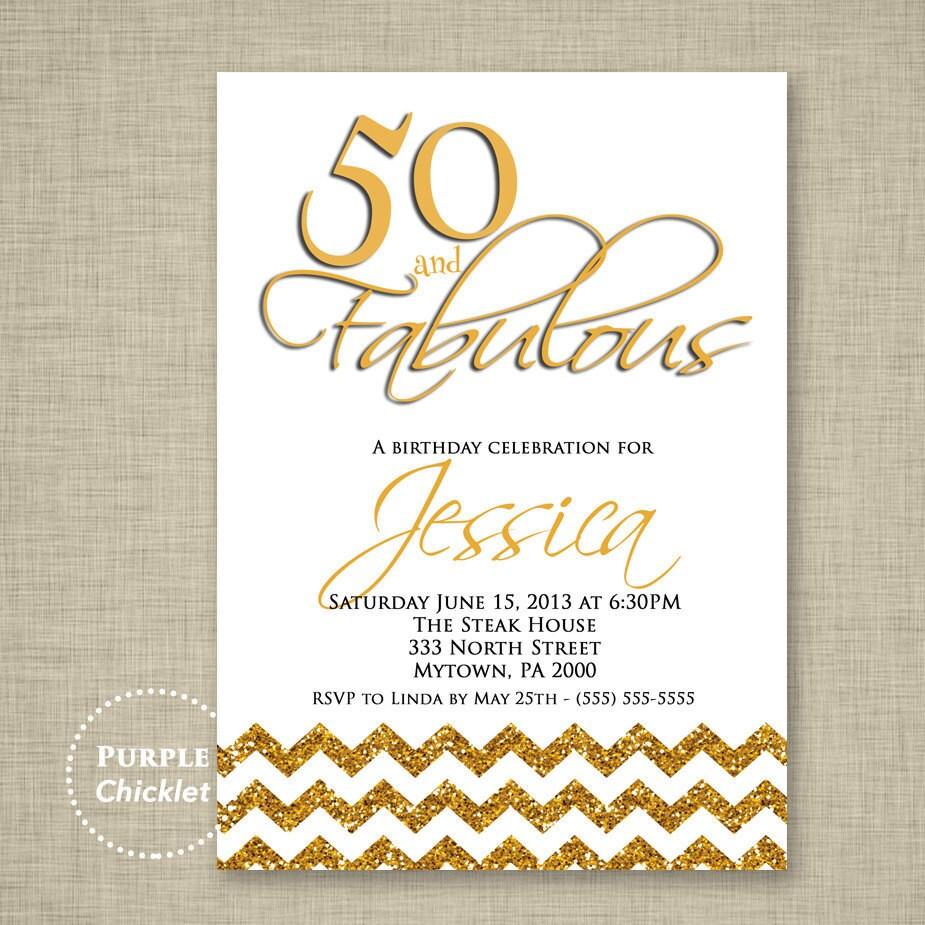 50 and Fabulous Invite 50th Birthday Invitation Gold Glitter | Etsy