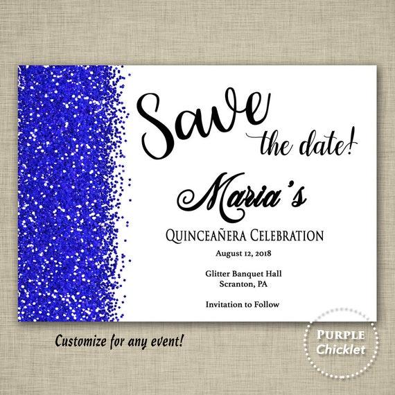 blue save the date quinceaera celebration birthday invitation