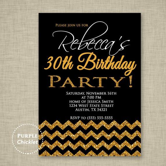 18th 30th 40th 50th Birthday Invitation Black And Gold Invite