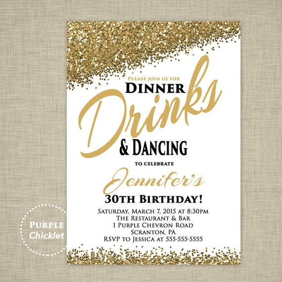 30th any age birthday invitation dinner drinks and dancing etsy