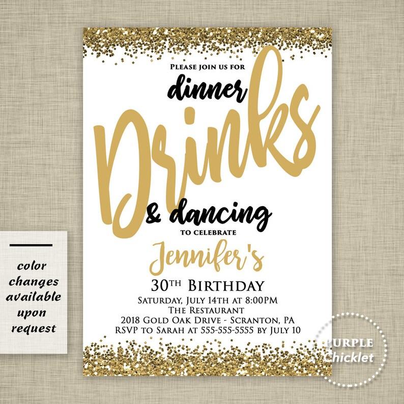 40th Birthday Dinner Ideas: 30th 40th 50th Birthday Invitation Dinner Drinks And
