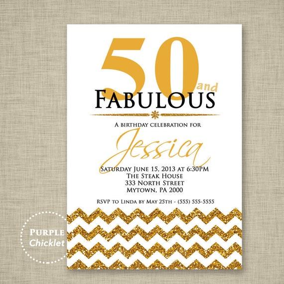 50th Birthday Invitation Fifty And Fabulous Invite Gold Etsy