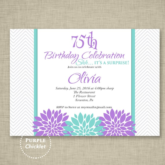 Surprise 75th Birthday Invitation Lavender Flower Invite ANY