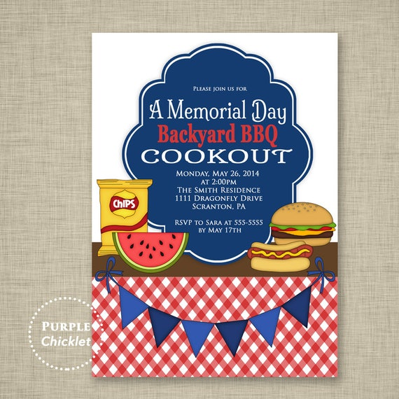 cookout party invitation labor day memorial day bbq invite etsy