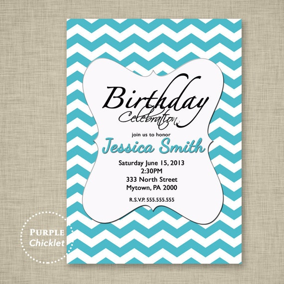 13th 30th 40th 18th Birthday Invitation Party Invite Womans Etsy