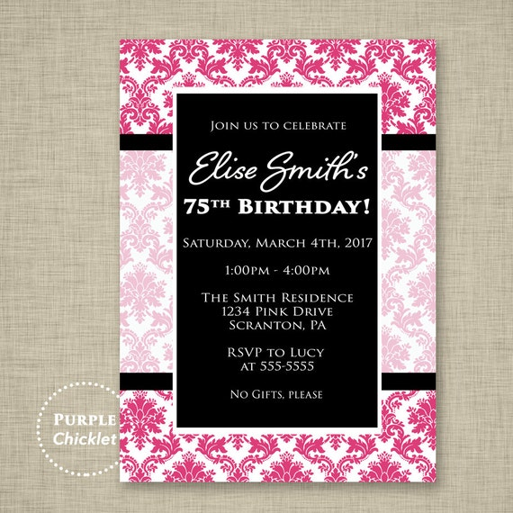 Greeting Cards Invitations 30 Adult Birthday Damask Red
