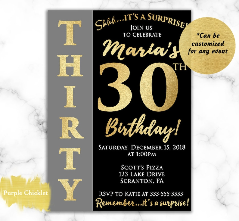 Surprise 30th Birthday Invitation For Her Gold And Black