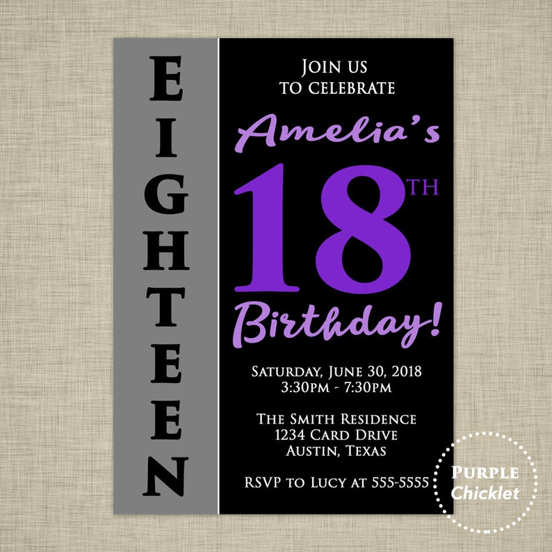 18th Birthday Party Invitation Purple Invite 5x7
