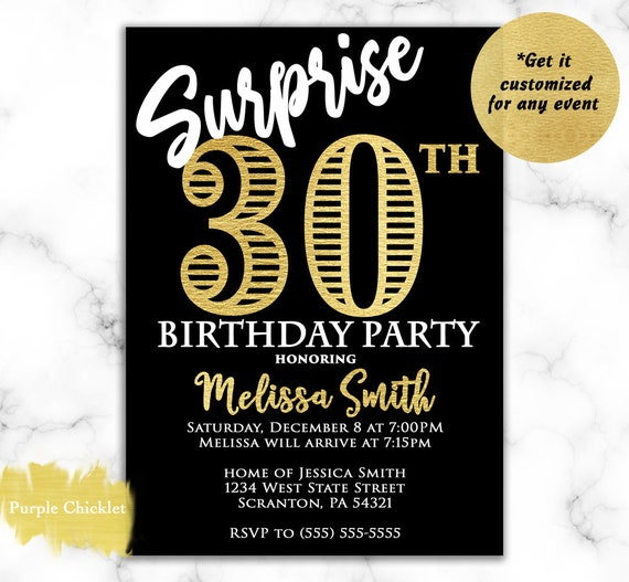 Surprise 30th Birthday Invitation For Her Gold And Black 60th