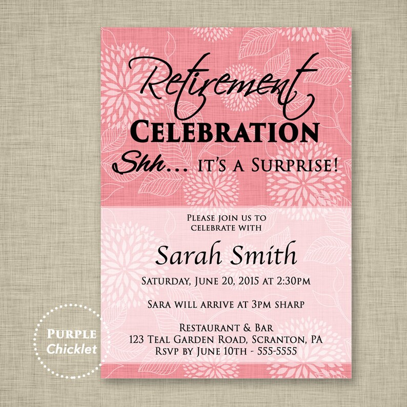 Pink Surprise Retirement Party Invitation Pink Adult Party Etsy