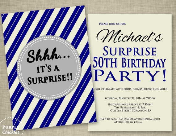 Mens Navy Blue Surprise 50th Birthday Invitation