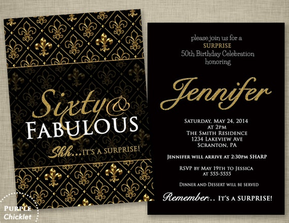 fleur de lis 60th birthday surprise party invitation gold and etsy
