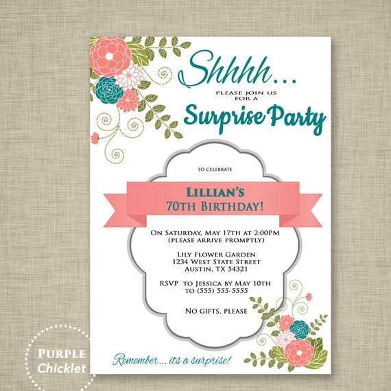 Surprise Invitation 70th Birthday Party Coral And