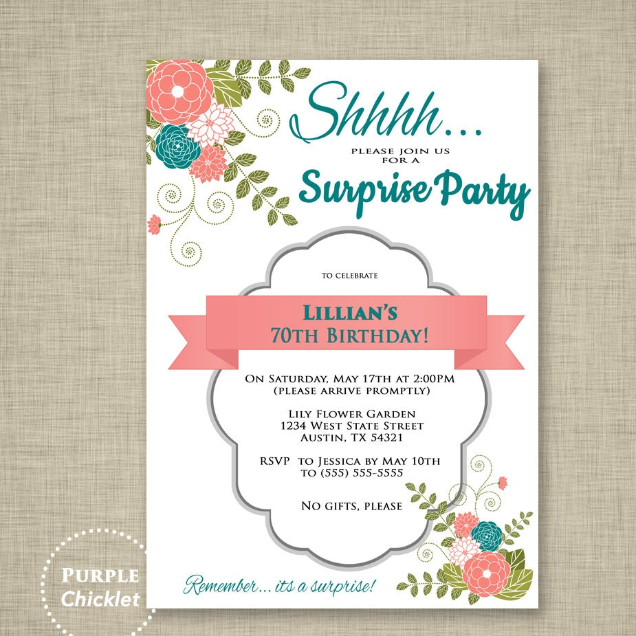 Surprise Invitation 70th Birthday Party Invitation Coral and | Etsy