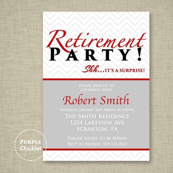 Red Surprise Retirement Party Invitation Farewell Celebration Etsy