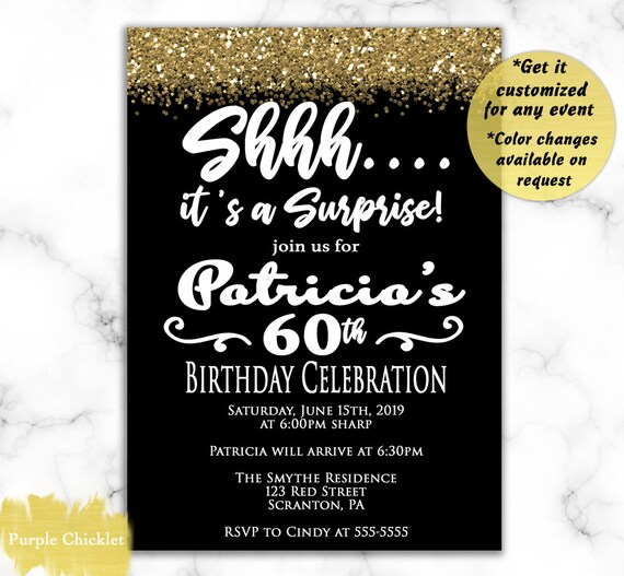Elegant 60th Birthday Invitation Gold And Black Surprise