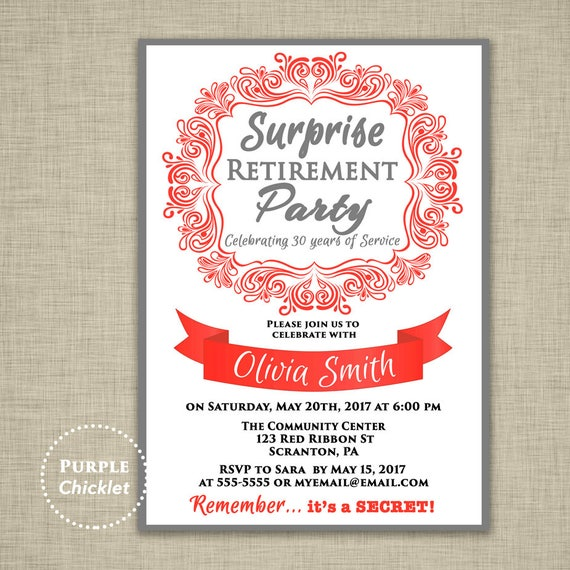 surprise retirement invitation red and gray farewell etsy