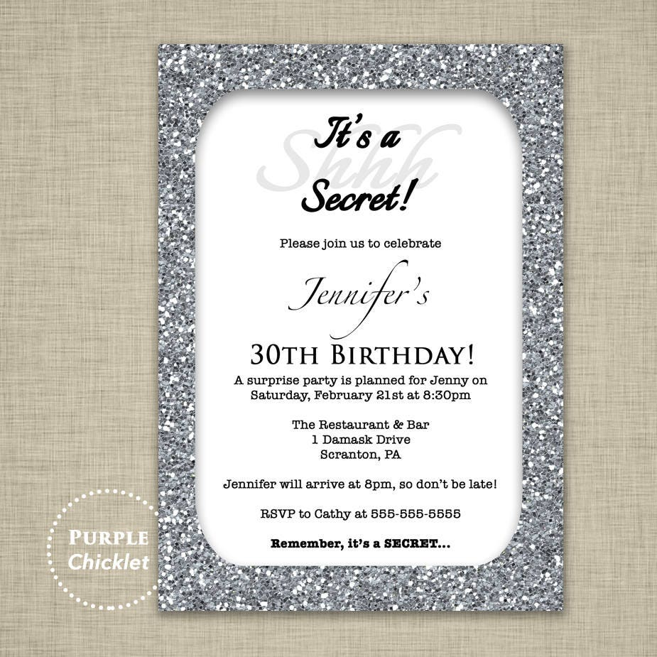 30th Birthday Invitation Silver Glitter Glam Surprise Party | Etsy