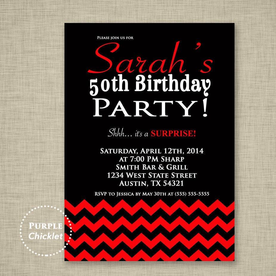Red 50th Birthday Invitation Surprise Party Invite 18th