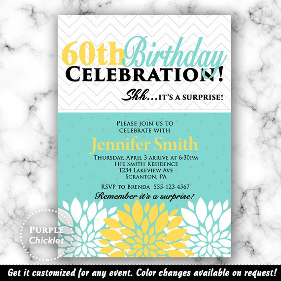 Surprise 60th Birthday Invitation 50th Birthday 80th