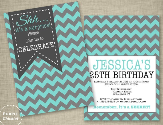 Teal Blue Surprise 18th 30th 40th 25th Birthday Invitation