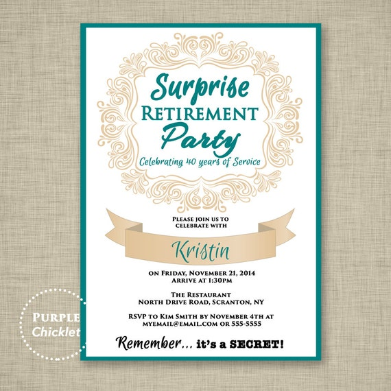 surprise retirement invitation teal and beige farewell etsy