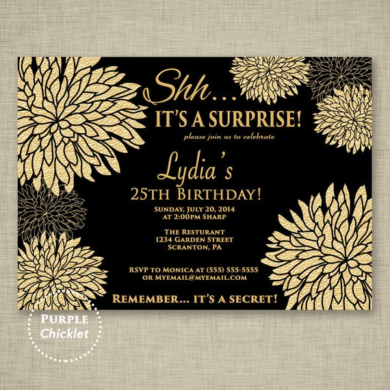 Gold Birthday Invitation Surprise Party Celebration
