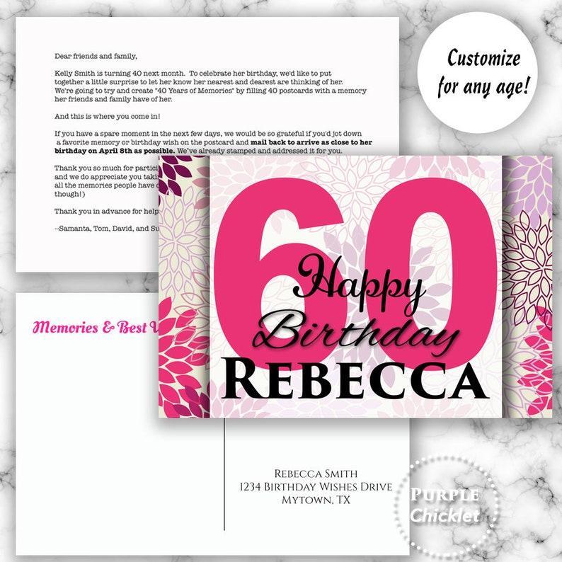 40th 50th 60th Milestone Birthday Postcard Memories And