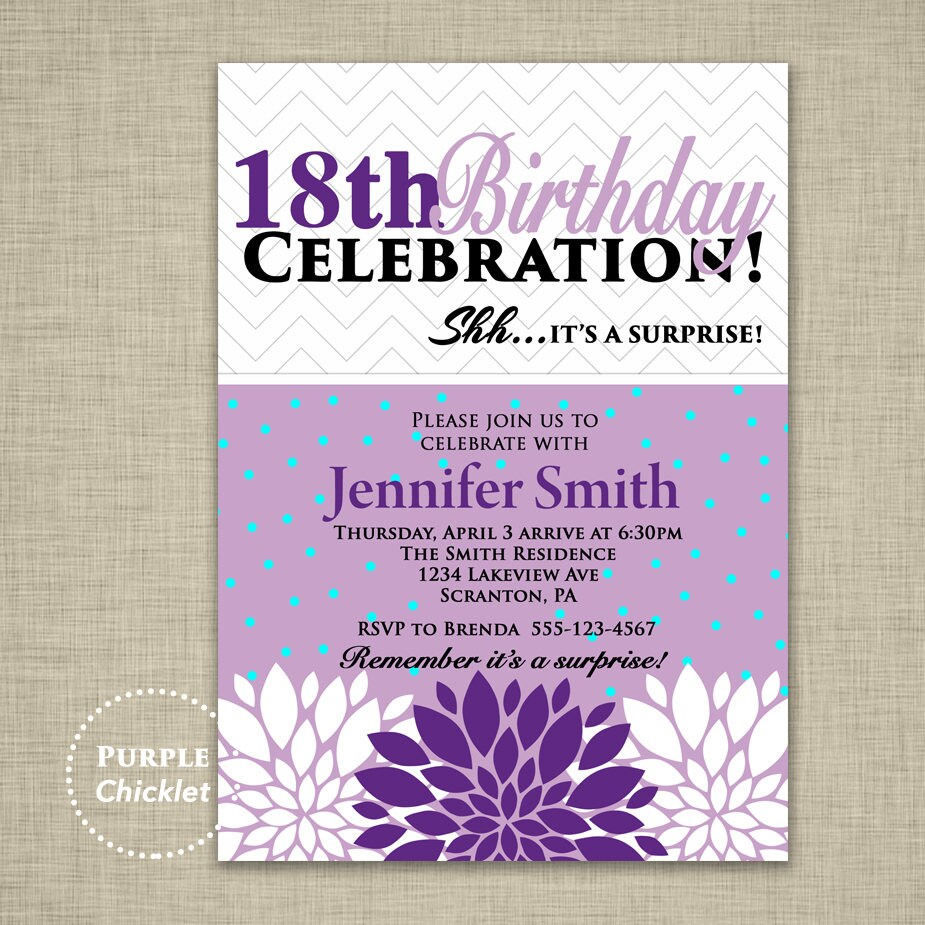 Surprise 18th Birthday Party Invitation For Her Flower