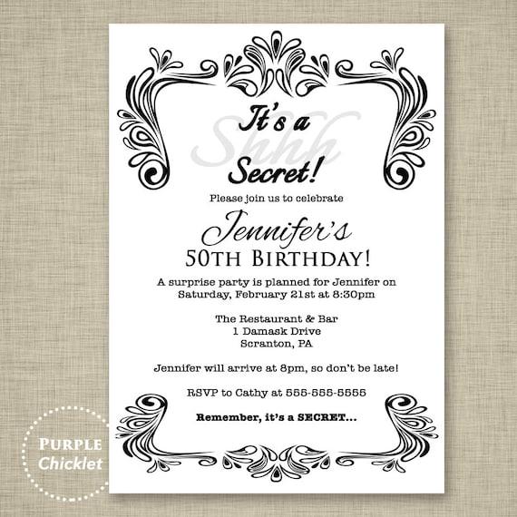 Black And White Invite Birthday Invitation Surprise