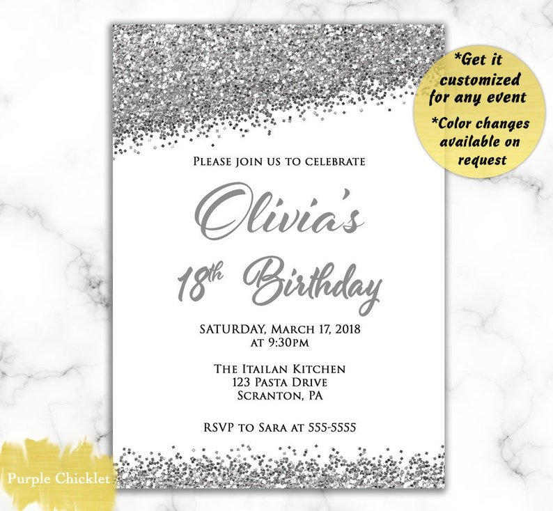 18th Birthday Invite Save The Date Quinceanera Invitation