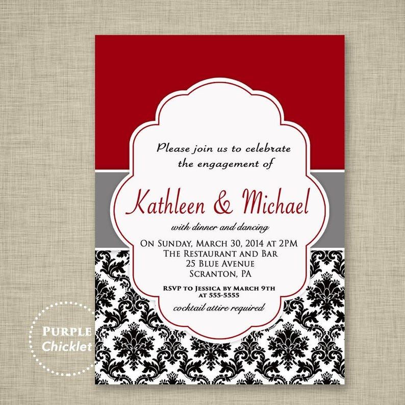 Wedding Engagement Dinner Party Invitation Red Black And